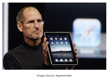 Steve Jobs holding first ipad - Image Source AppleInsider